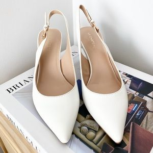 Pointed Toe Slingback Pumps in White